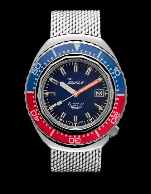 Squale 101 atmos 2002 Blue-Red Polished Dive Watch